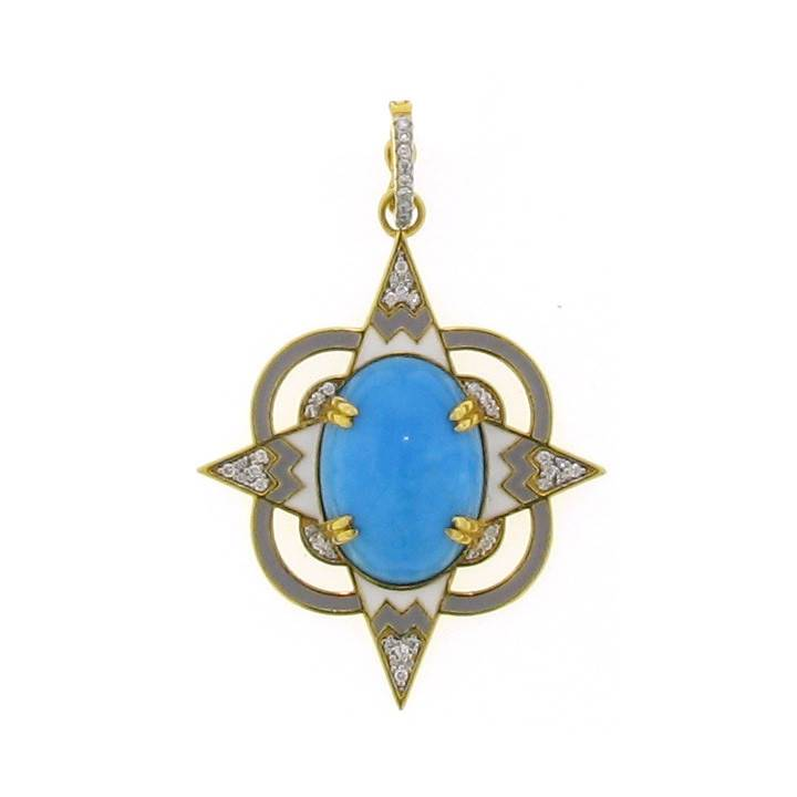 Buddha Mama Lantern gold pendant with turquoise, diamonds and enamel