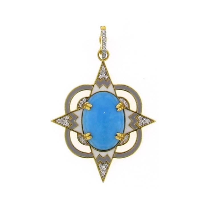 Buddha Mama Lantern gold pendant with turquoise, diamonds and enamel