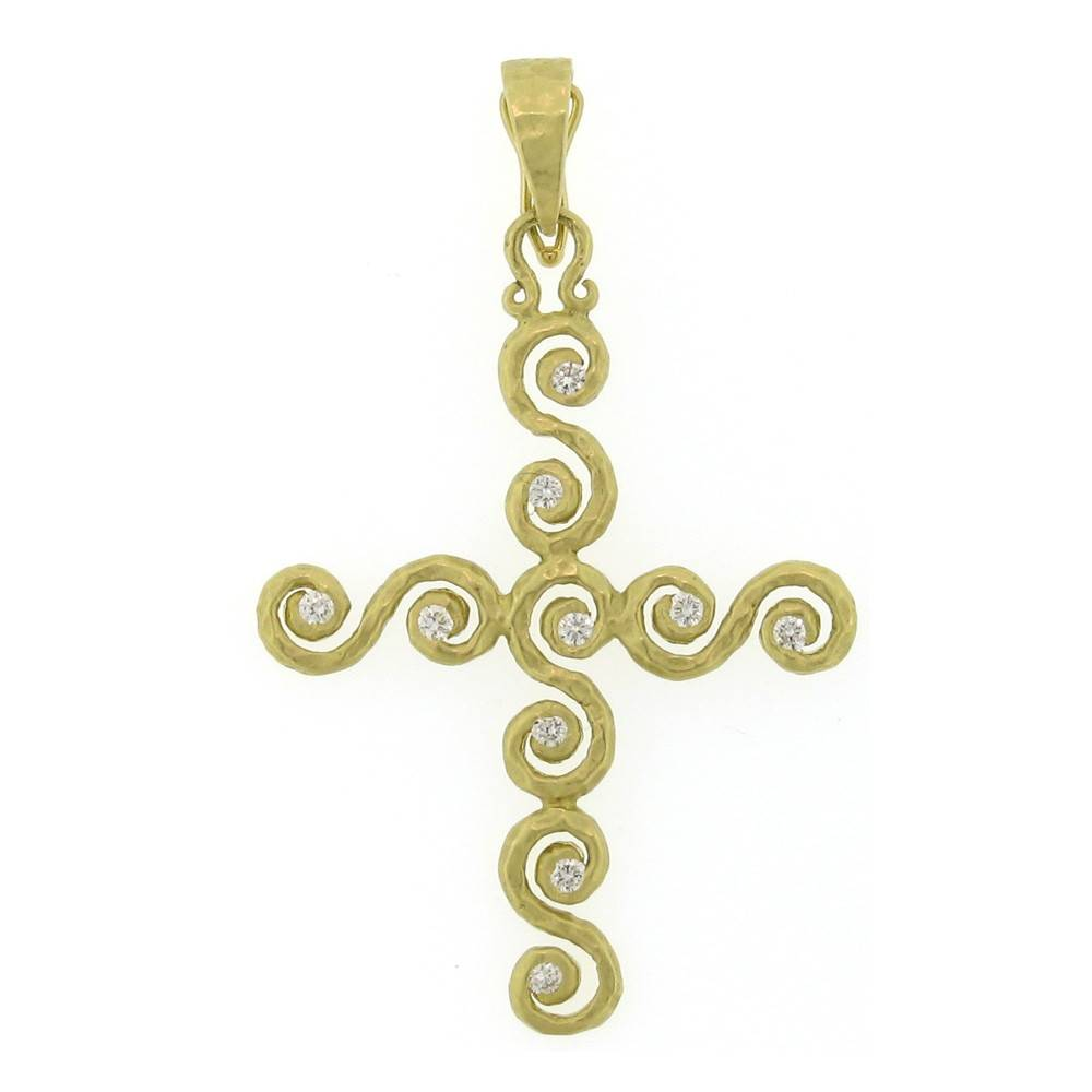 Pamela Froman Crushed Gold Scroll Cross Pendant