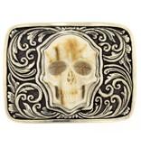 Artifactual Carved Skull Belt Buckle
