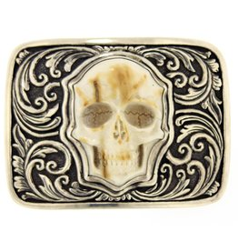 Artifactual Carved Skull Belt Buckle