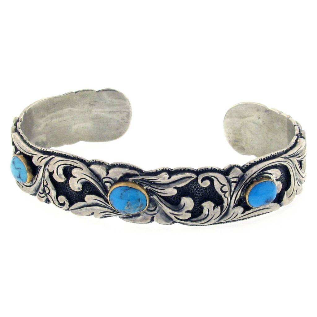 Artifactual Carved Silver & Turquoise Cuff Bracelet