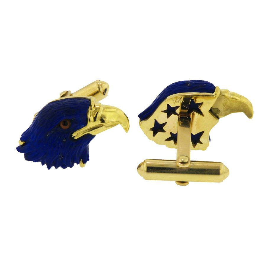 Estate Carved Lapis Eagle Cuff Links