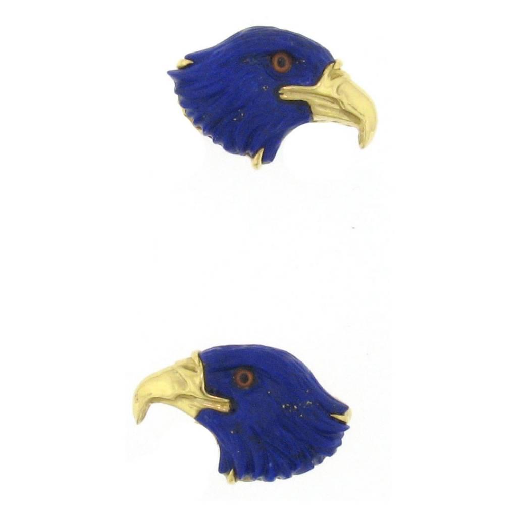 Estate Carved Lapis Eagle Cuff Links