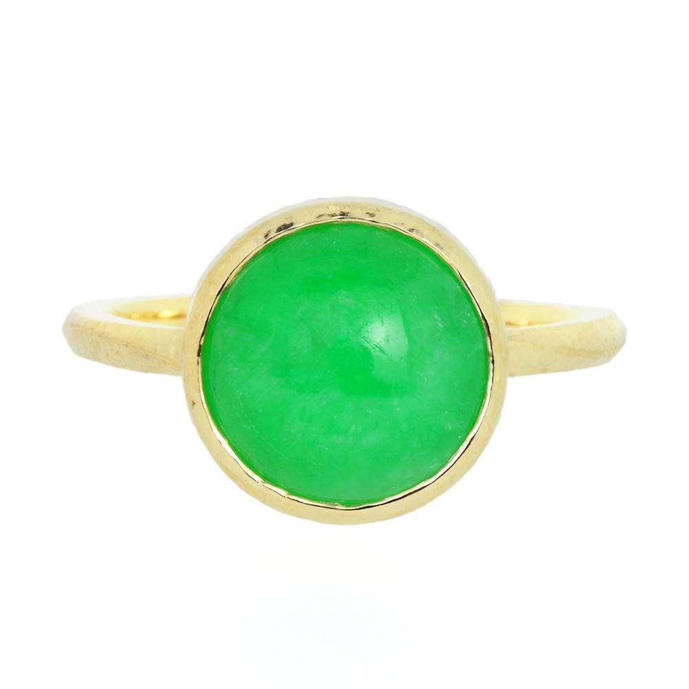 Patrick Mohs Wave Bezel Solitaire Jadeite Ring