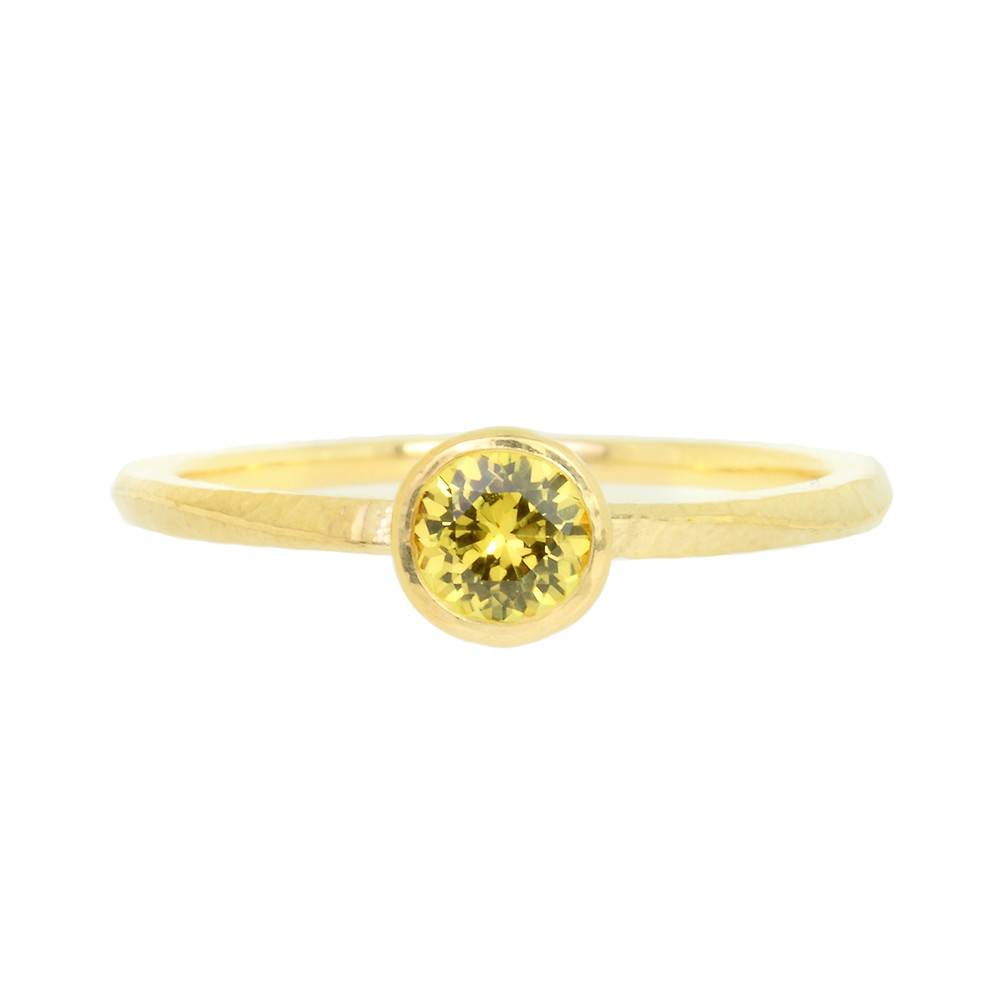 Patrick Mohs Wave Bezel Solitaire Yellow Sapphire Ring
