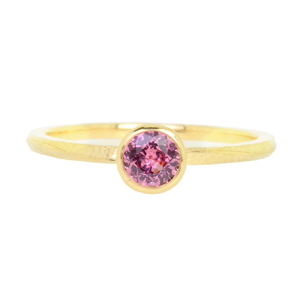 Patrick Mohs Wave Bezel Solitaire Pink Sapphire Ring