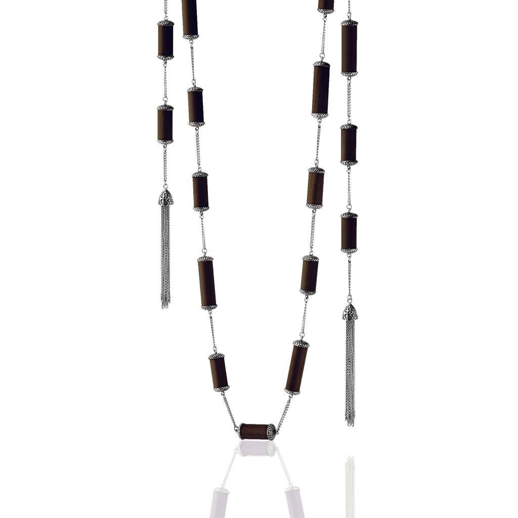 Kir Wood Pipe Silver Tassel Necklace