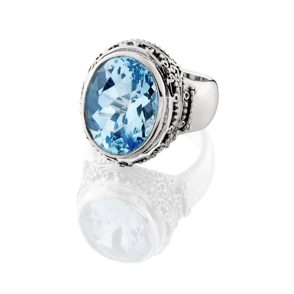Kir Jawan Blue Topaz Silver Ring