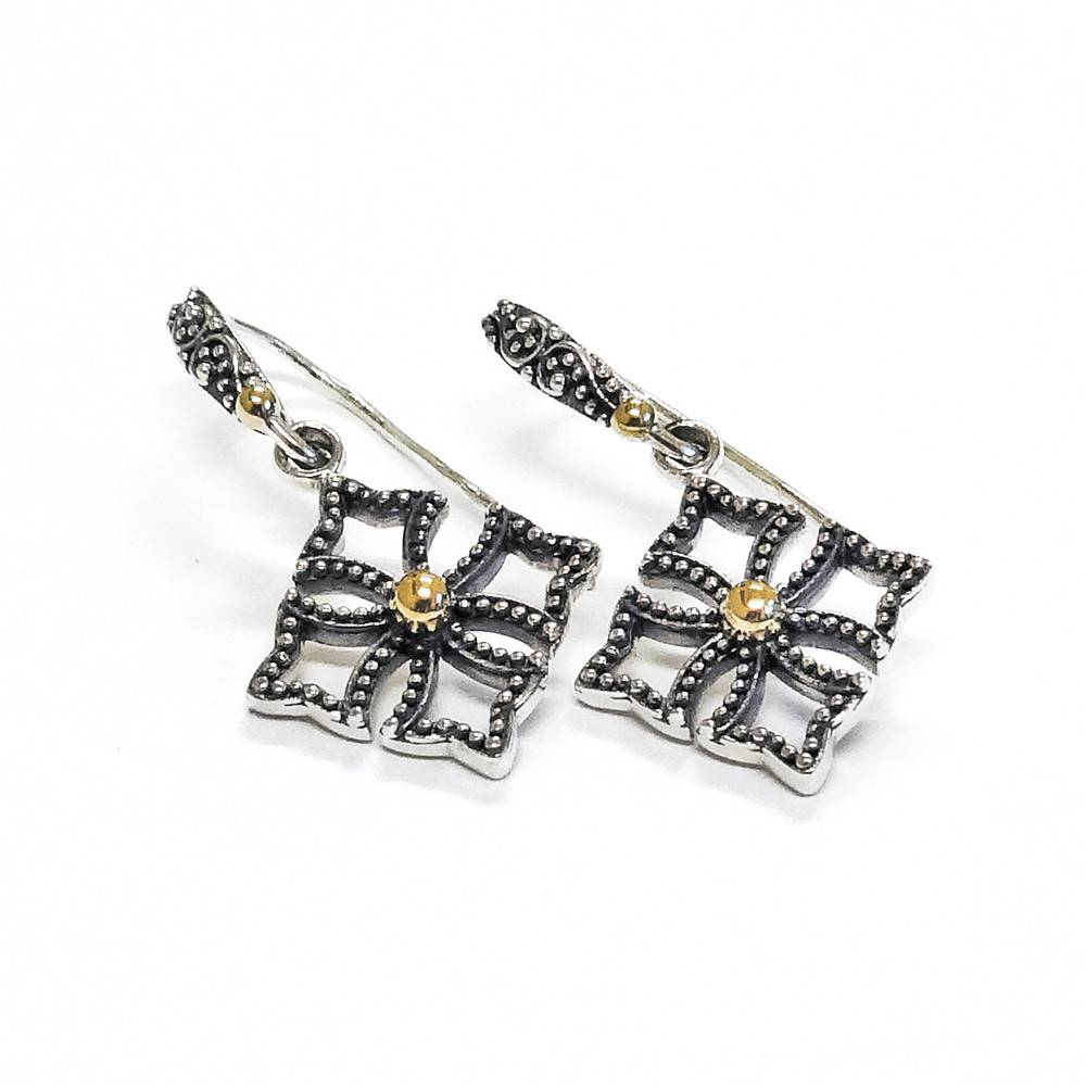 Kir Single Cross Drop Silver Earrings