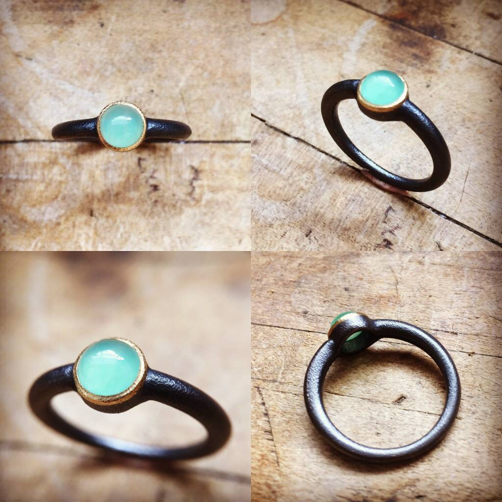 Alex Boyd Chrysoprase Solitaire Silver Ring