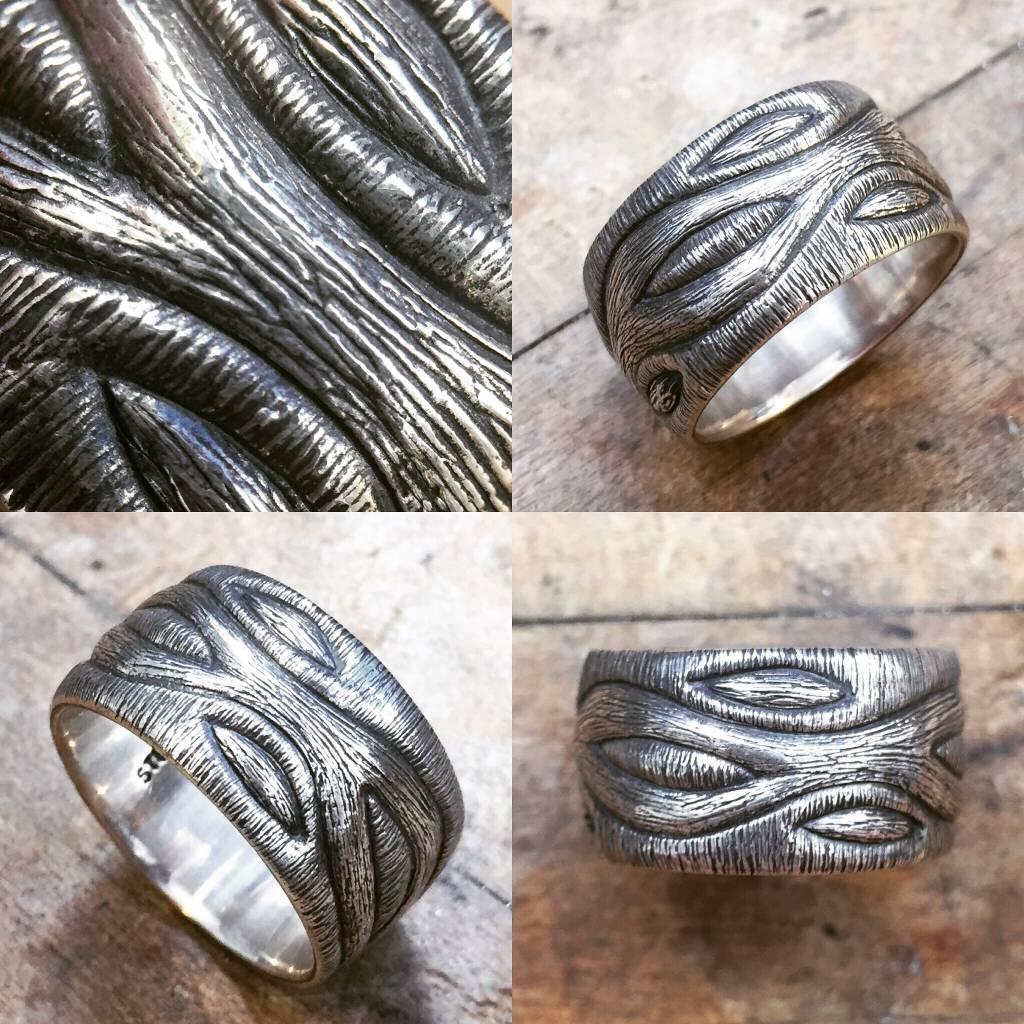 Alex Boyd Wave Carved Silver Ring