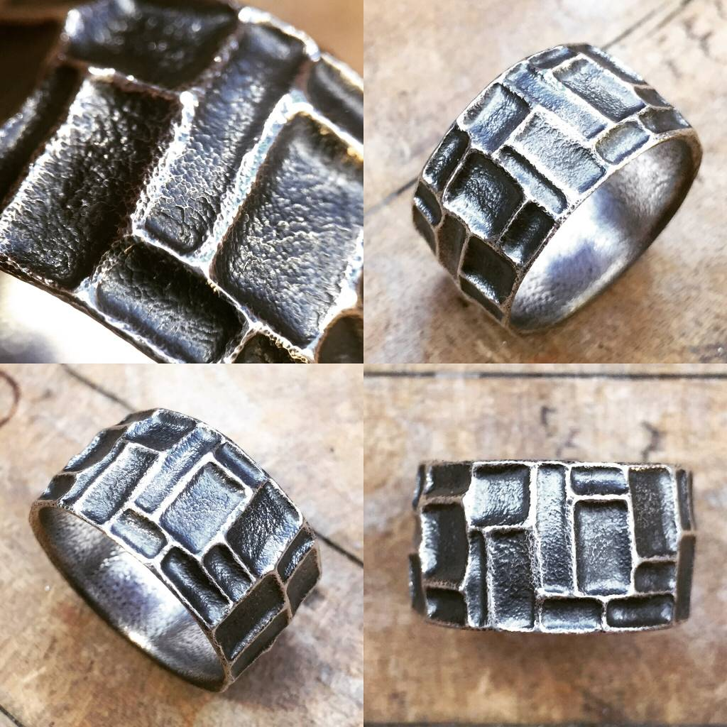 Alex Boyd Embossed Carved Sterling Silver Ring