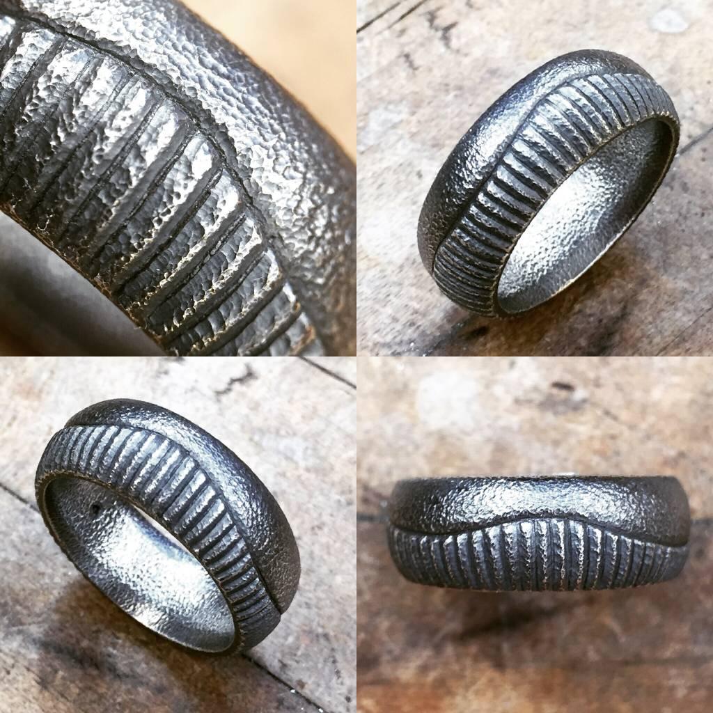 Alex Boyd Split Pattern Carved Silver Ring