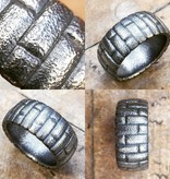 Alex Boyd Brick Pattern Carved Silver Ring