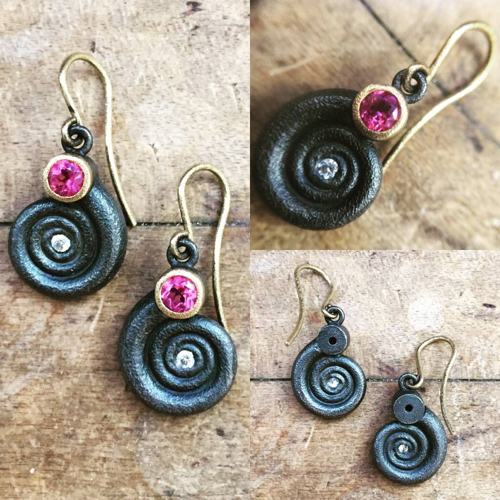 Alex Boyd Swirl Tourmaline and Diamond Silver Earrings
