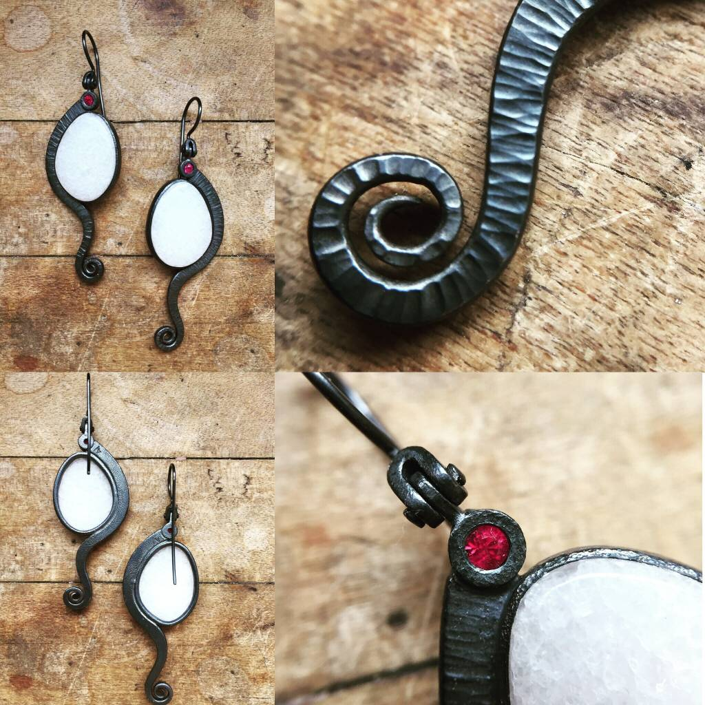 Alex Boyd Fern Marble & Ruby Silver Earrings