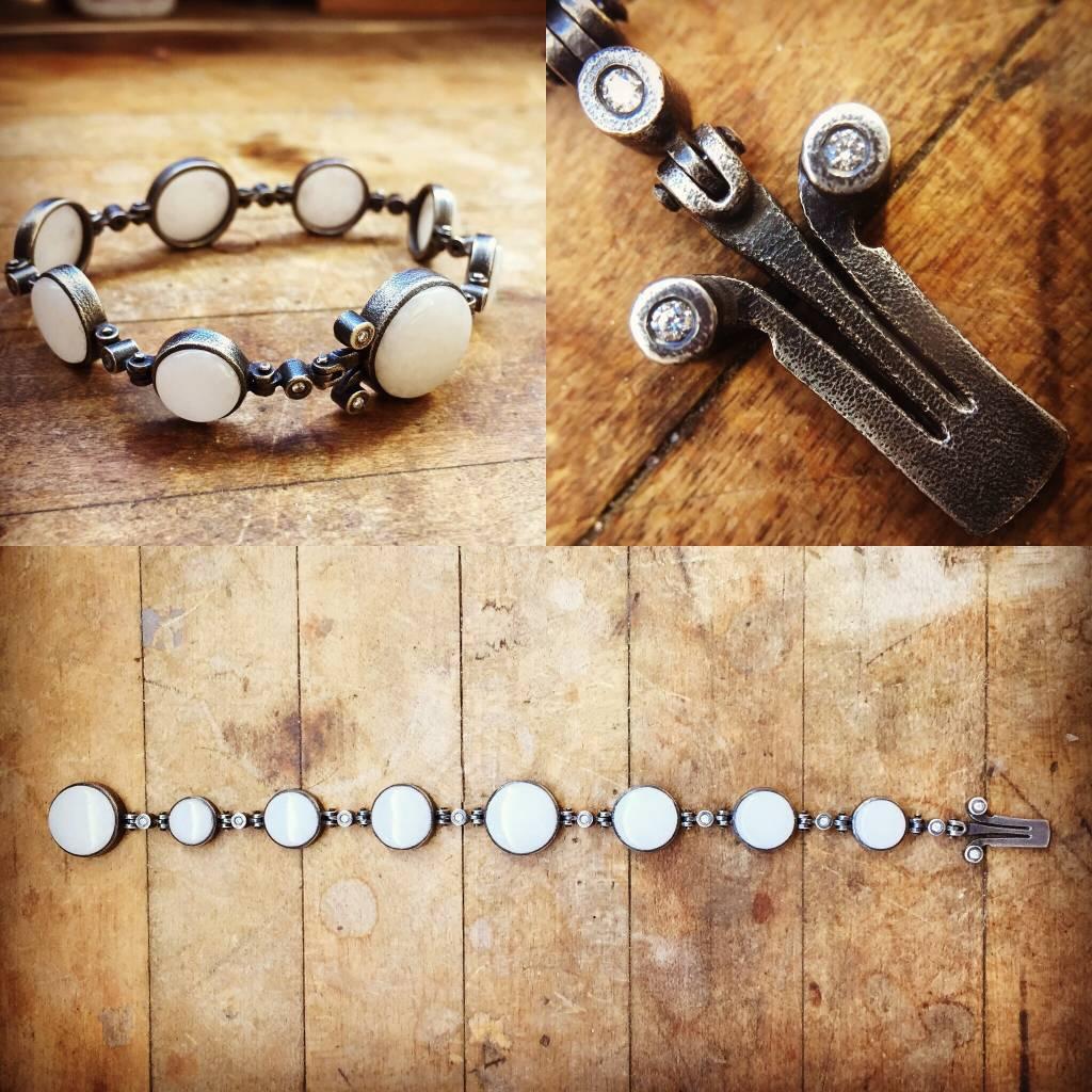 Alex Boyd Marble & Diamond Silver Bracelet