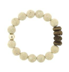 Elizabeth Martin Riverstone & Tibetan Striped Agate Bracelet