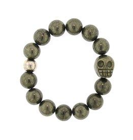 Elizabeth Martin Pyrite Beads & Skull Bracelet