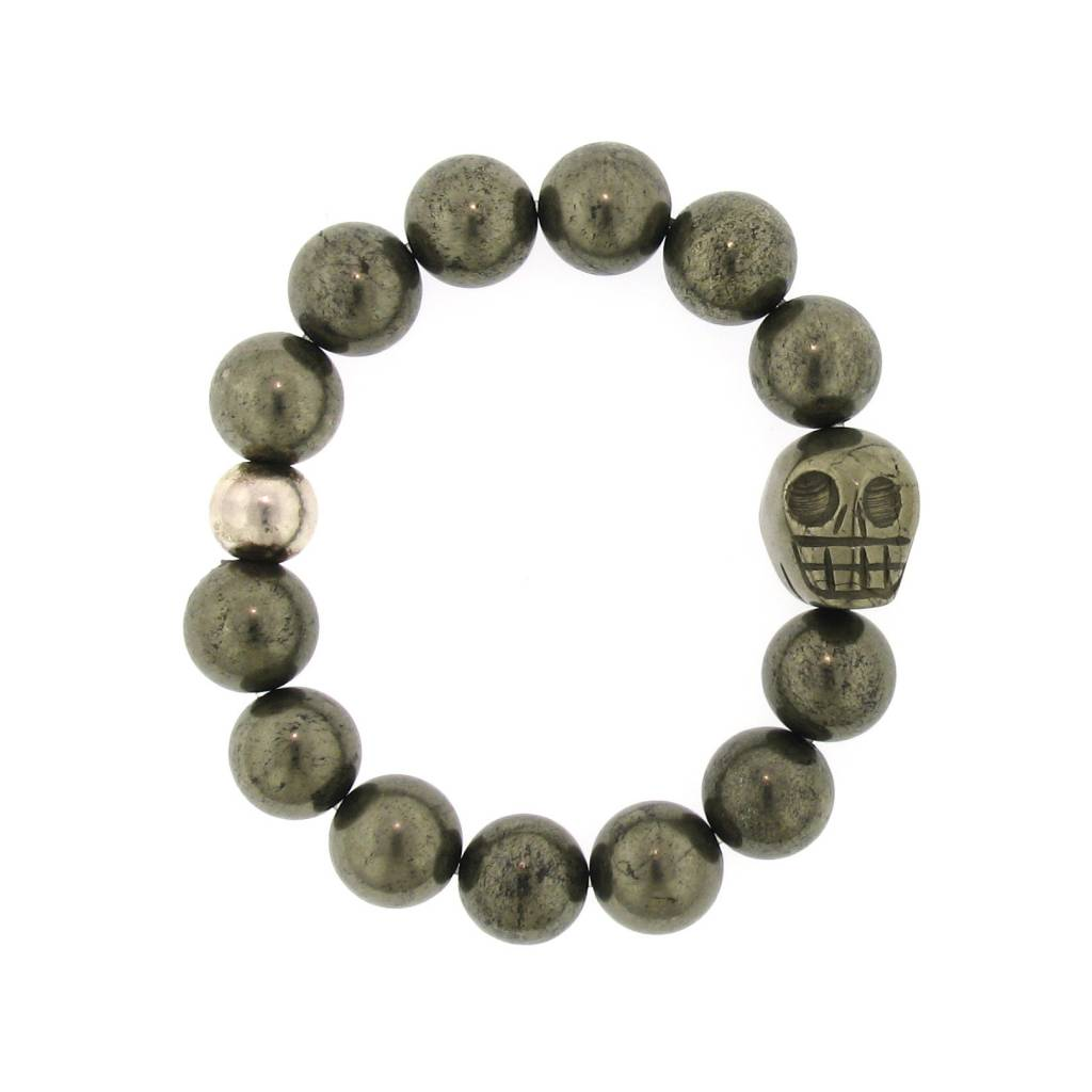 Elizabeth Martin Pyrite Beads & Skull Stretch Bracelet