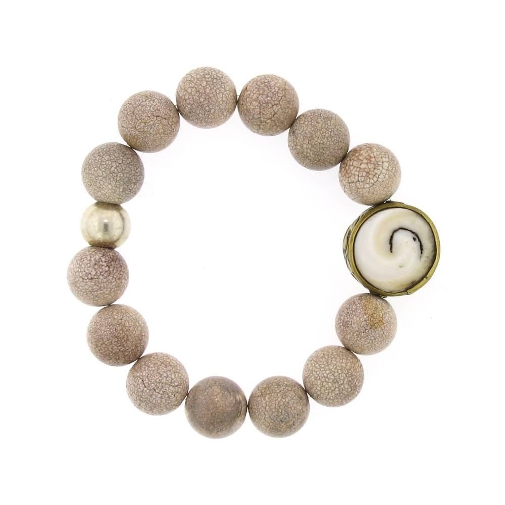 Elizabeth Martin Riverstone, Shell & Trade Bead Stretch Bracelet