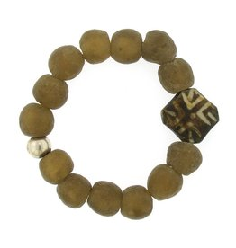 Elizabeth Martin Recycled Glass & Pumtek Wood Bracelet