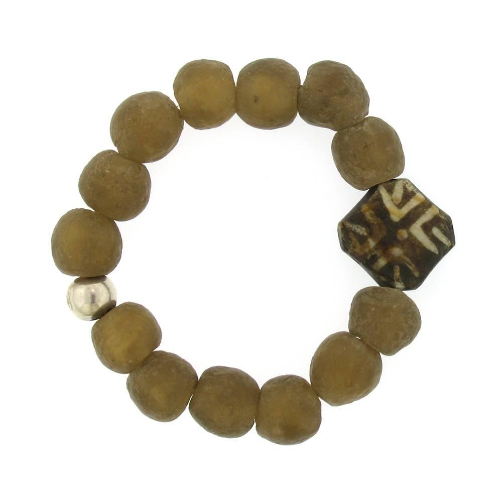 Elizabeth Martin Recycled Glass & Pumtek Wood Stretch Bracelet