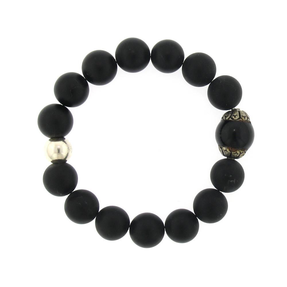 Elizabeth Martin Onyx & Silver Stretch Bracelet
