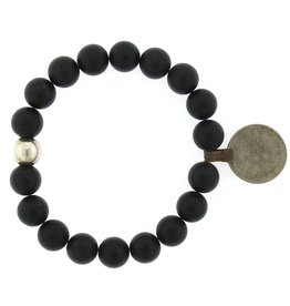Elizabeth Martin Onyx & Afghan Coin Bracelet