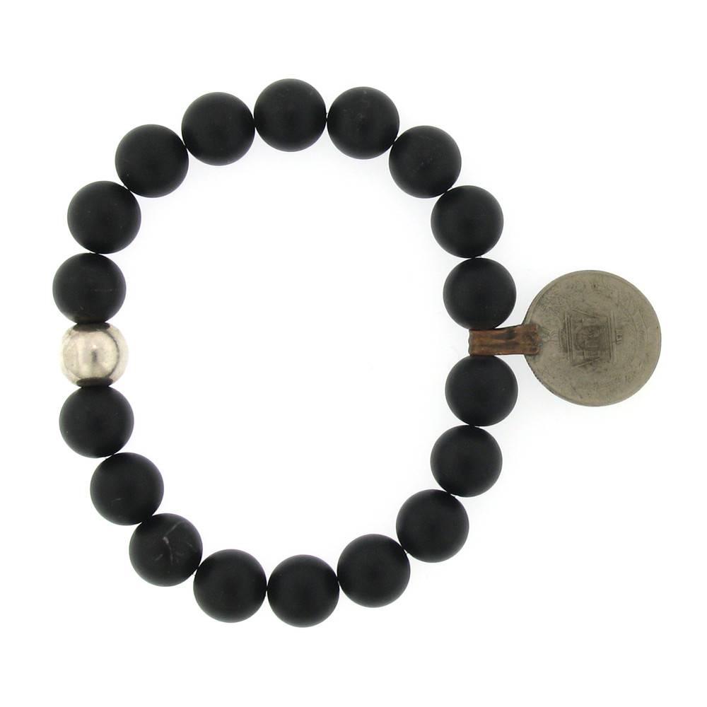 Elizabeth Martin Onyx & Afghan Coin Stretch Bracelet