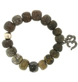 Elizabeth Martin Dinosaur Bone & Diamond Ohm Stretch Bracelet