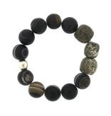 Elizabeth Martin Tibetan Agate & Dinosaur Bone Stretch Bracelet