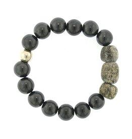 Elizabeth Martin Tumbled Hematite & Dinosaur Bead Bracelet