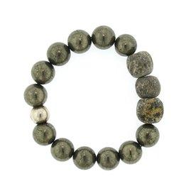 Elizabeth Martin Pyrite & Dinosaur Bone Bead Bracelet