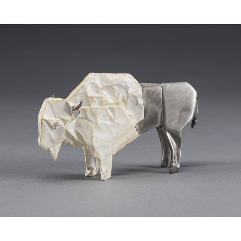 Kevin Box White Bison Mini Bronze Sculpture