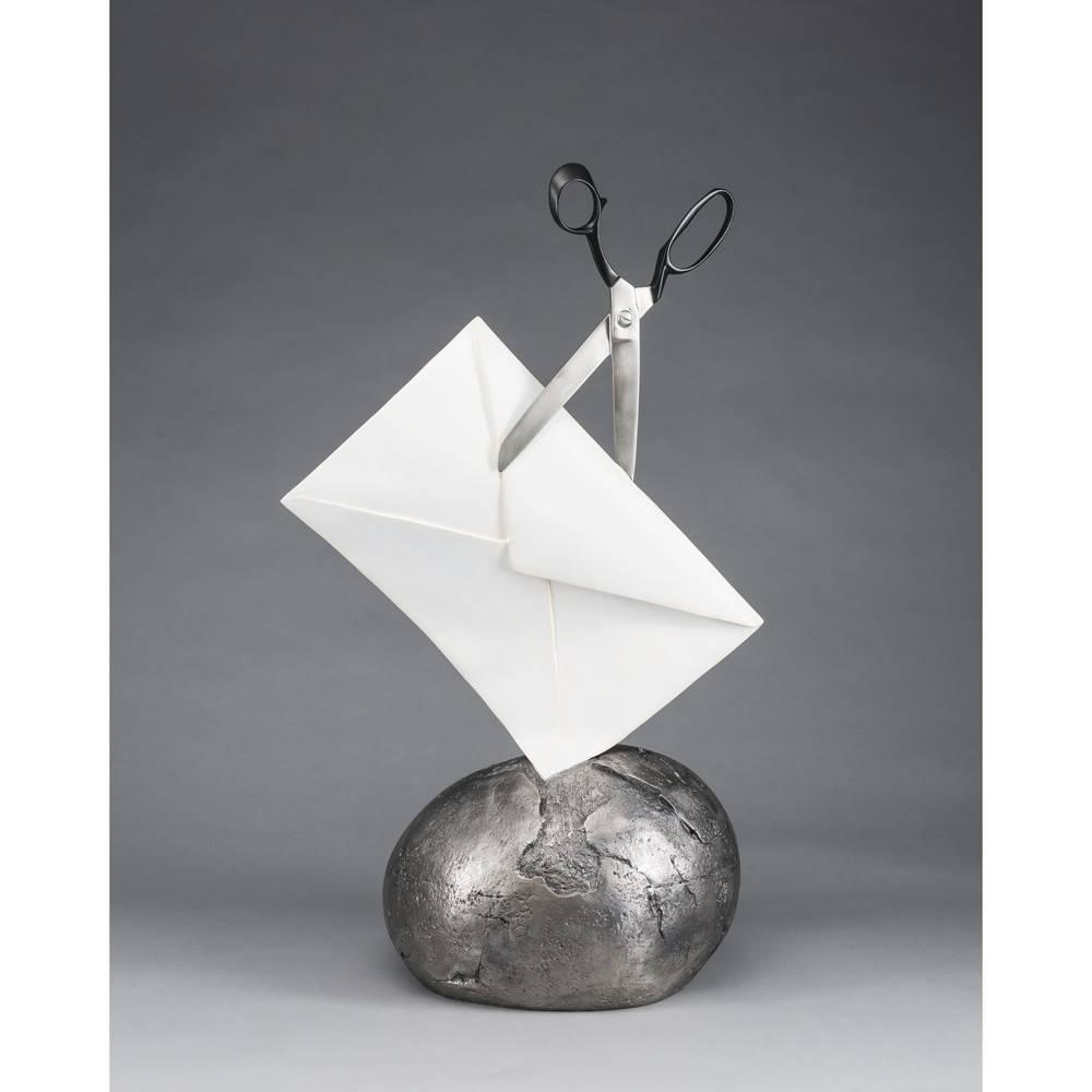 Kevin Box Rock Paper Scissors - Envelope Black Sculpture