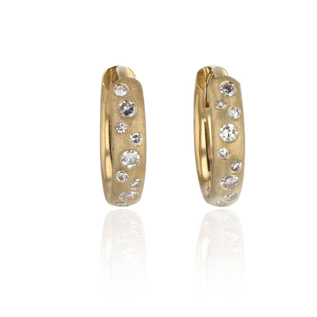 Lisa Des Camps Diamond Huggie Earrings