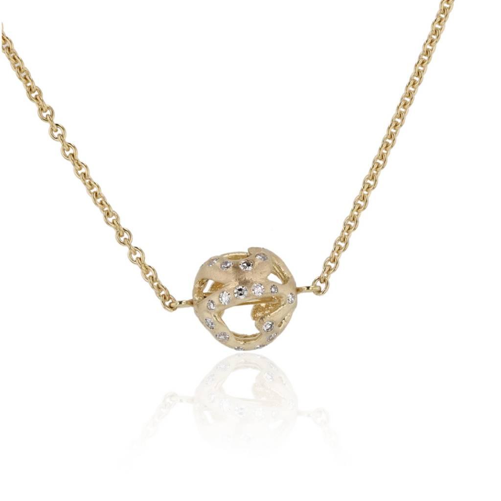 Lisa Des Camps Heart Ball Diamond Charm Necklace