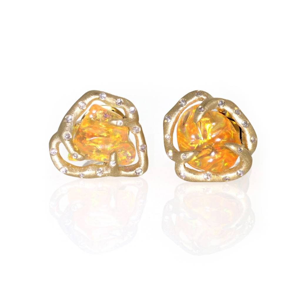 Lisa Des Camps Organic Fire Opal Stud Earrings