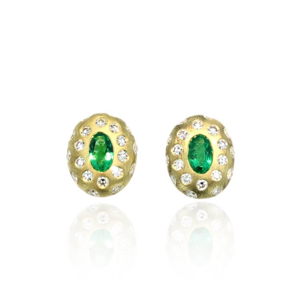 Lisa Des Camps Breeze Emerald Stud Earrings