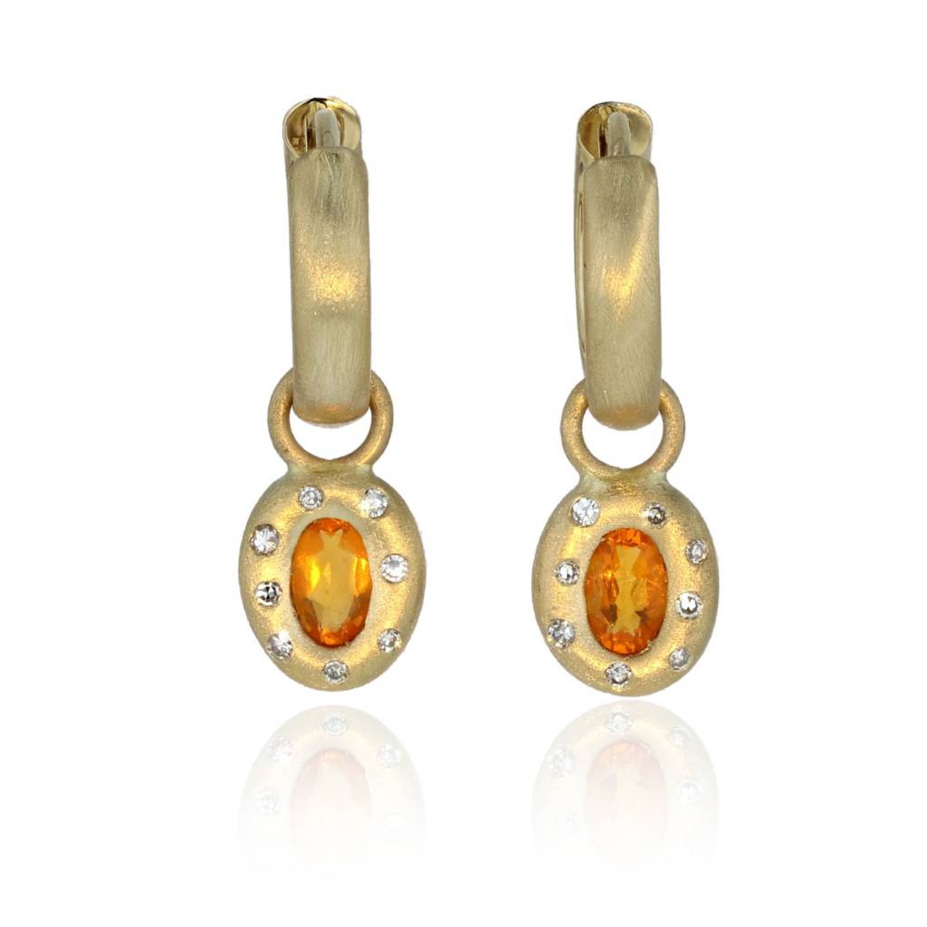 Lisa Des Camps Huggie Earrings with Fire Opal Charms