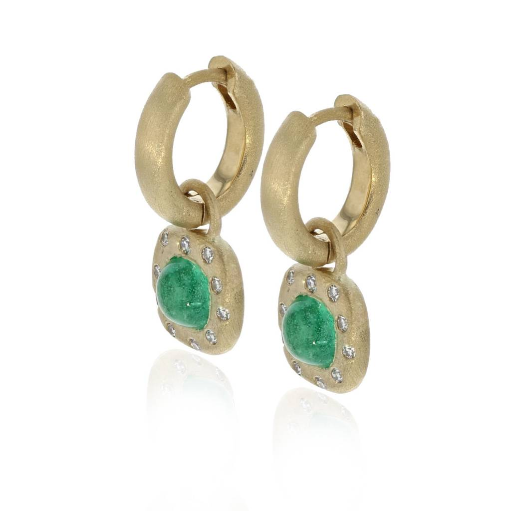 Lisa Des Camps Huggie Earrings with Emerald Charms