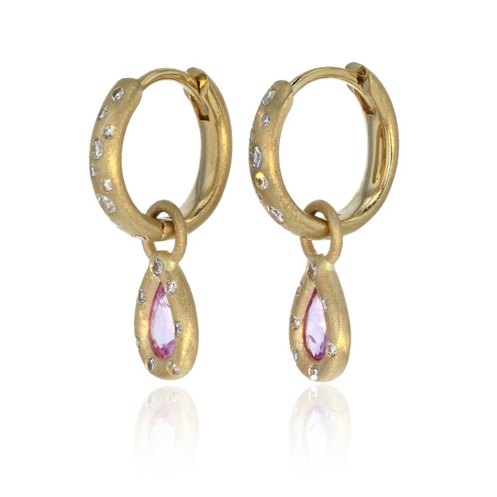 Lisa Des Camps Huggie Earrings with Pink Sapphire Charms