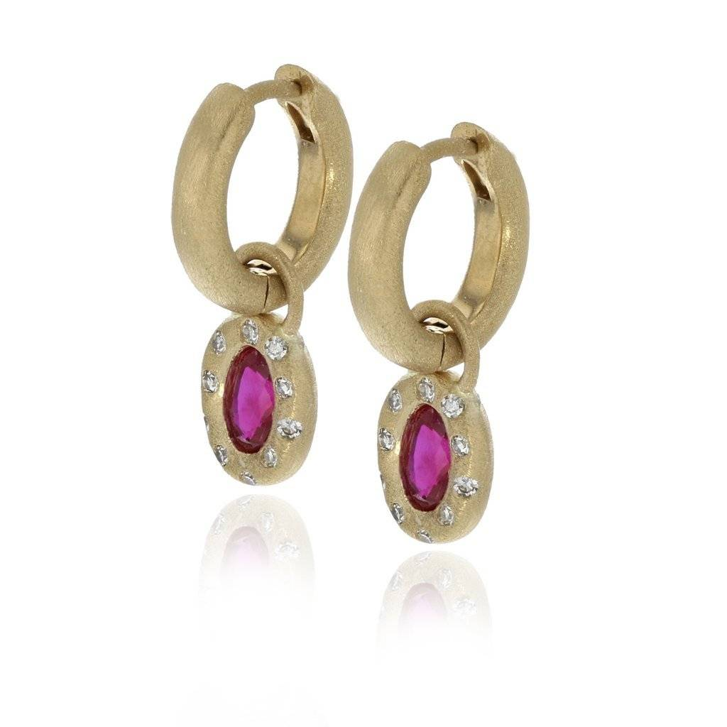 Lisa Des Camps Huggie Earrings with Ruby Charms