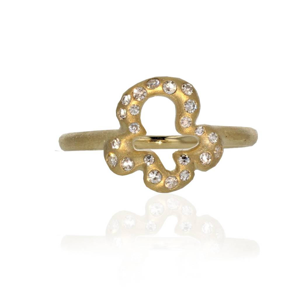 Lisa Des Camps Trefle Charm Ring with Diamonds