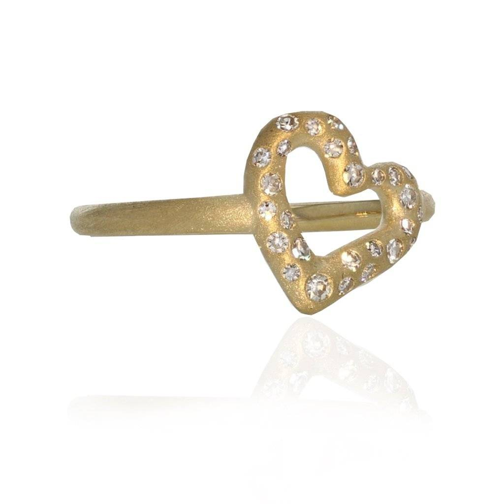 Lisa Des Camps Heart Charm Ring with Diamonds