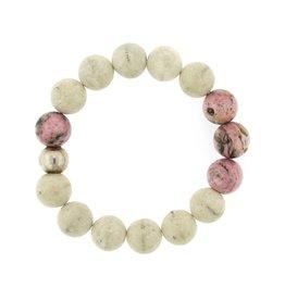 Elizabeth Martin Riverstone & Rhodochrosite Bead Bracelet