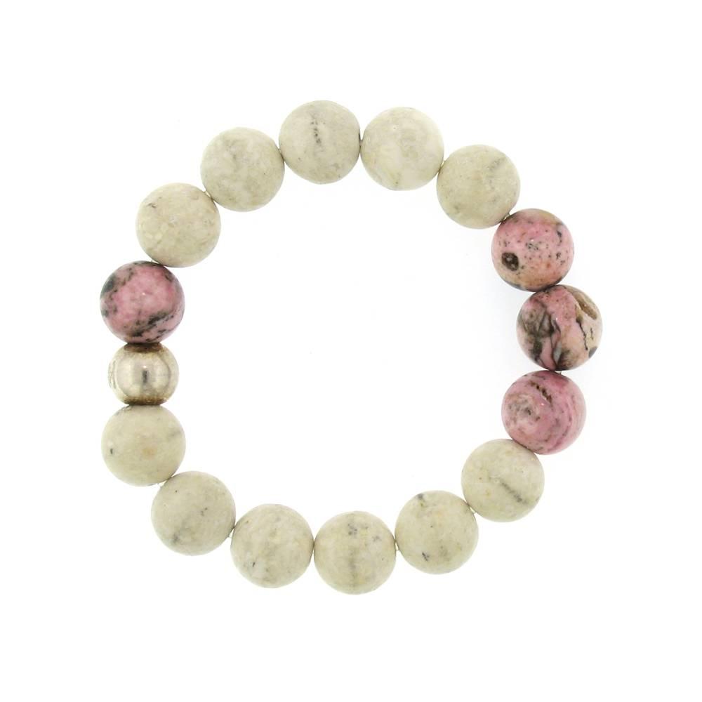 Elizabeth Martin Riverstone & Rhodochrosite Stretch Bead Bracelet