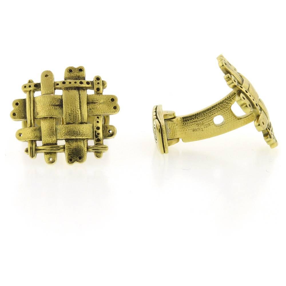 Alex Sepkus Woven Gold Cufflinks